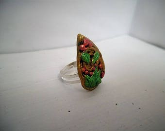 Bay leaf and arabesque Adjustable ring