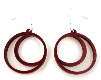 Sustainable Wooden Earrings - Crescent Moons - in Red Stained Maple