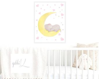 Elephant Nursery Art,Elephant Nursery Print,Elephant Nursery Decor,Girls Nursery,Baby Room Art,Elephant Kids Room,Cute ElephantElephant Kids