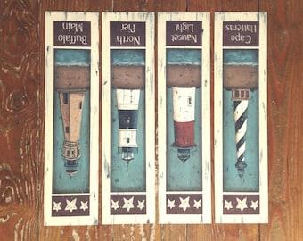 Vintage inspired LIGHTHOUSE Folk Art prints by Donna Atkins. Cape Hatteras. Nauset Light. North Pier. Buffalo Main. Nautical beach cottage.