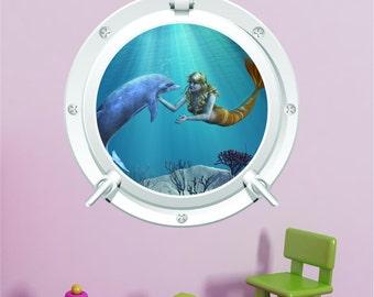Dolphin & Mermaid  Sea Ocean Sunset Bathroom Bedroom Porthole Wall Art Sticker Decal WAP-P103D