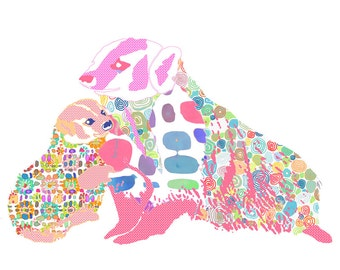 nursery art, nursery decor, woodland nursery, baby girl nursery, girl nursery decor badger print, badger art, nursery wall art baby girl art