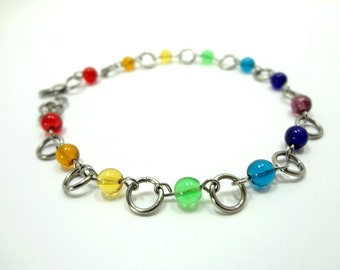 Ankle Bracelet Rainbow Glass Beads And Stainless Steel