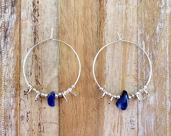 """Etnica"" Sodalite and 925 sterling silver hoop earrings"