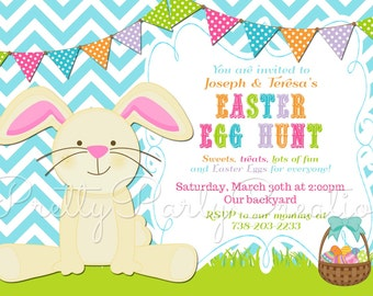 SITTING BUNNY easter egg hunt invitation - YOU Print - 3 to choose
