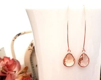 Rose Gold Earrings, Champagne Peach Wedding Jewelry Bridesmaid Gift, Bridesmaid Gifts , DROP Earrings, Bridesmaid Gift