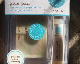 Martha Stewart glue pad and refill glue pad for glitter stamping