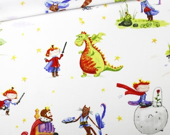 Fabric tales princes, 100% cotton printed 50 x 160 cm, tales for boys on white background