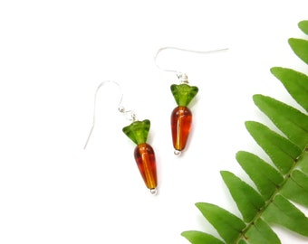 Orange Carrot Earrings, Beaded Glass Easter Jewelry, Gift for Vegan Cook, Farm Garden, Miniature Vegetable Food, Rabbit Lover Gardener Gift