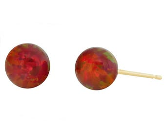 Ginger: Flame Red Opal Ball Stud Earrings, 14-20 Gold Filled Opal Earrings, Red Opal Earrings, Gold Filled Opal Earrings, Red Opal Studs
