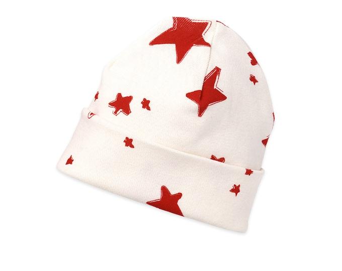STAR HAT! Newborn Red Stars Hat, Star Newborn Baby Hat, Baby Hat for Girls, Baby Boy Beanies, Baby Girl Beanies, Stars, Tesababe