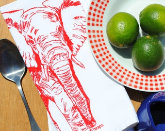 Red Elephant Set of 4 Cotton Kitchen Napkins - African Theme - Screen Printed -White Cloth Napkins -Gifts for Mom -Washable Reusable Napkins
