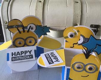Handmade popup minion birthday box card