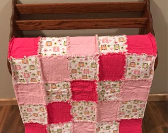 Pink & Green Owls Infant Rag Quilt