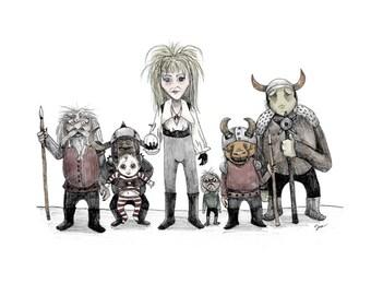 Labyrinth - The Bad Guys & Toby - 5x7 Illustration Print