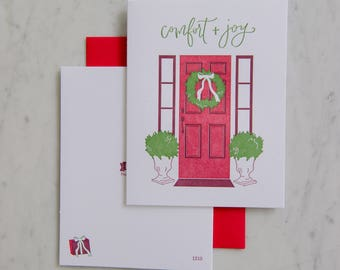 Boxed Set - Comfort and Joy - Holiday letterpress card - Christmas
