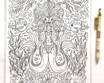 ORIGINAL - melusine siren - 8.5 x 11 graphite drawing