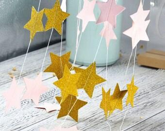 Pink Gold Star Paper Garland For Baby Shower Children Kids Birthday Party Decoration Wedding Decoration Home Decor confetti