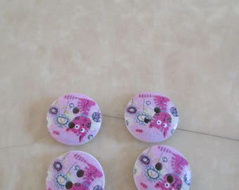 set of 2 wood patterns cat buttons