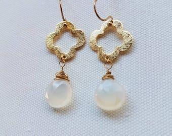 Gold Quatrefoil Earrings | Gold Clover Earrings | Brushed Gold Earrings | Minimalist Earrings | Quatrefoil Earrings | White Chalcedony Drops