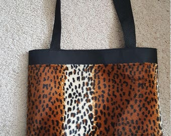 Tiger Faux Print Tote Bag, Bookbag, Birthday, Student, Gift for Her,