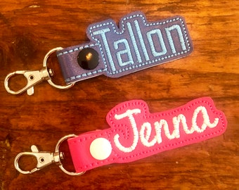 Snap Tab Key Fob Embroidery Name Backpack Personalized Luggage