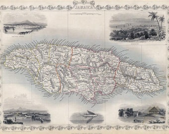 Antique map of Jamaica,1851, art deco old map, vintage Carribe, fine art print