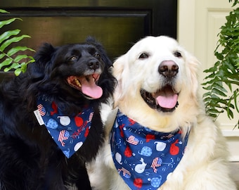 Patriotic Dog Bandana |•| Summer Whales |•|The Best Personalized Puppy Dog Bandanas by Three Spoiled Dogs