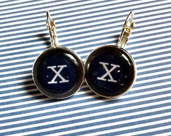 Letter X typewriter key cabochon earrings- 16mm