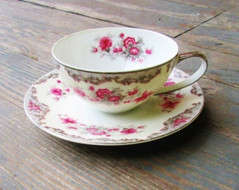 Floral Pink Tea Cup and Saucer 1950s Meito F & B Pattern Romantic Gift Idea Summer Decor