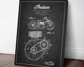 1943 Indian Motorcycle Shaft Drive Patent, Canvas Print, Motorcycle Print, Motorbike Art, Wall Art, Home Decor, Gift Idea, TR08C