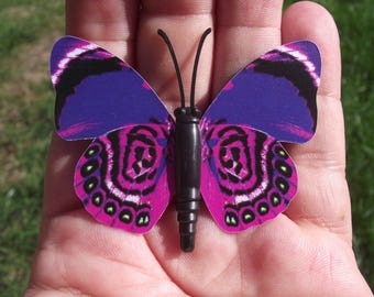 1 BUTTERFLY DECORATION, REFRIGERATOR DECOR. PURPLE MULTICOLORED MAGNETIC. 6, 1 X 4, 6 cm. NO. 6