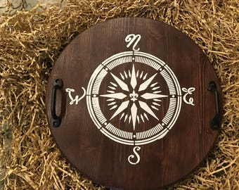 Compass Rose Wood Tray