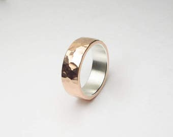 Beautiful Hammered Copper Ring Silver Lined Inner Band Polished or Matte Finish Made to Order Engraving Options