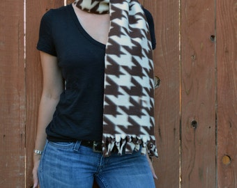Unisex scarf,  fleece no sew scarf, neck warmer in brown and tan