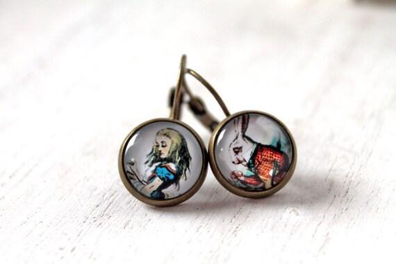 Alice in Wonderland and White Rabbit  earrings sweet lolita feminine leverback