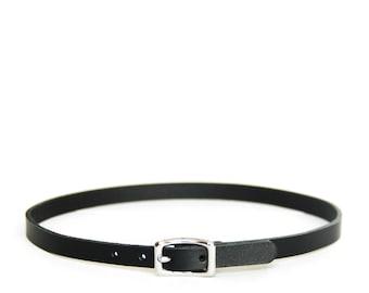 Mini Basic Buckle Choker -- Black Leather