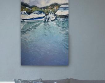 Palma Yacht Club, Oil painting, Original canvas painting, Seascape Painting, Wall Art, Ocean Art, Handmade