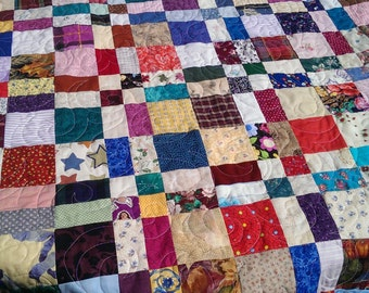 Scrap Quilt, Lap Quilt, Child's Quilt. Baby Quilt. Sofa quilt. Bright colors. Free motion quilted. Approx. 40 x 49 inches