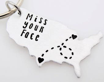 Custom state country map keychains or Necklace - Long distance love - Best friends long distance - long distance family - going away gift
