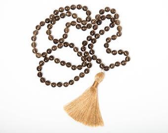 Kindness Mala, 108 Gemstone Mala Beads, Smoky Quartz Mala Necklace, Tassel necklace, Yoga Jewelry Active