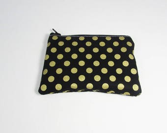 Black & Gold Polka Dot Coin Purse - Ready to Ship - Coin Purse - Change Purse - Small Credit Card Wallet - Zip Money Bag
