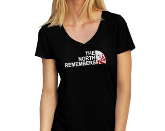 The North Remembers Blood Drops Game Of Thrones V-Neck T-Shirt for Ladies Cool Gift