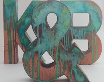 Faux Metal Letters - Antique Copper - Metal - Antique - Patina - Aged - Vintage - Farmhouse - Industrial - Decorative - Rustic - Beautiful