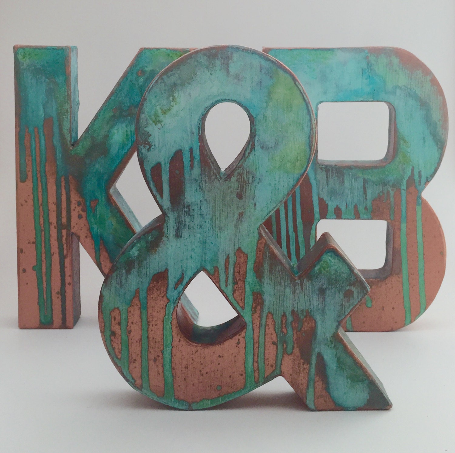 Decorative Metal Initials Faux Metal Letters Antique Copper Metal Antique Patina