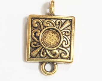 6 antique gold connector setting22x13mm , antique gold cabochon setting for 5mm flat round cabochon