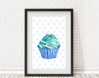 Kitchen decor, Cupcake Print, Kitchen art, Cupcake poster, Bakery decor, PRINTABLE art, Cupcake art, Kitchen wall art, Cupcake printable