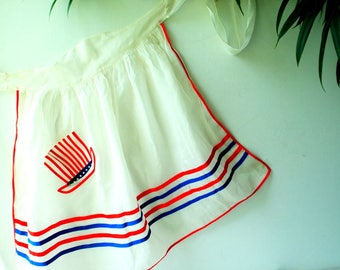 Americana vintage 50s,white sheer, patriotic, half apron with a hat shape pocket and red and blue stripes.