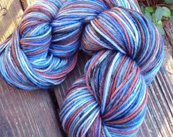 Blue Suit, Brown Shoes - NEW hand dyed sport weight sock yarn superwash Merino wool blend 274 yards 100 grams