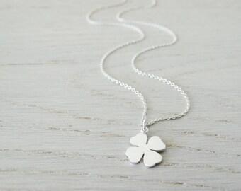 Silver 4 Leaf Clover Necklace - Sterling Silver